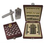 Σετ φλασκί ριγέ με 2 πουροθήκες και σκάκι σε ξύλινο κουτί